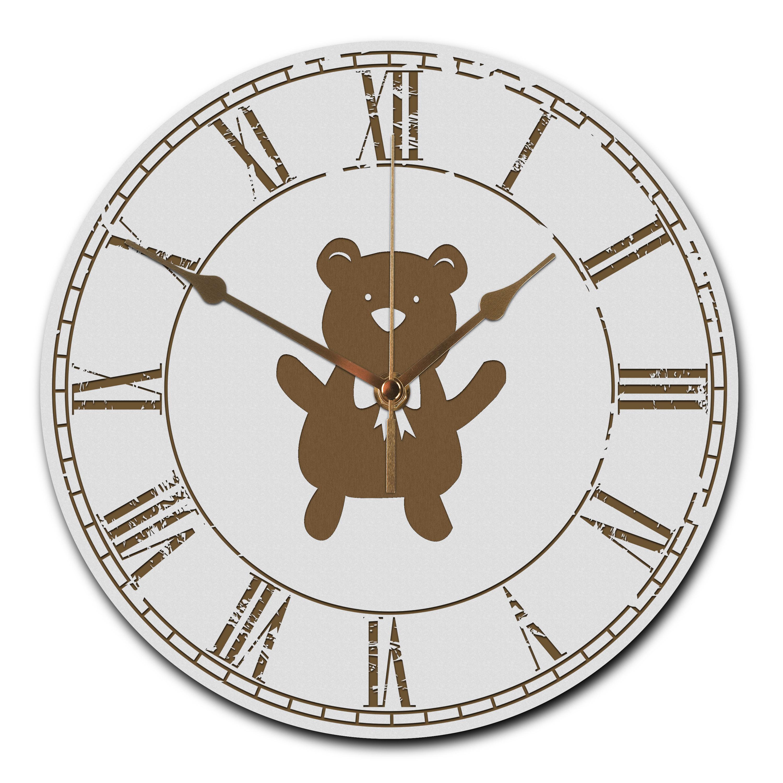 Wanduhr rund Teddybär aus MDF