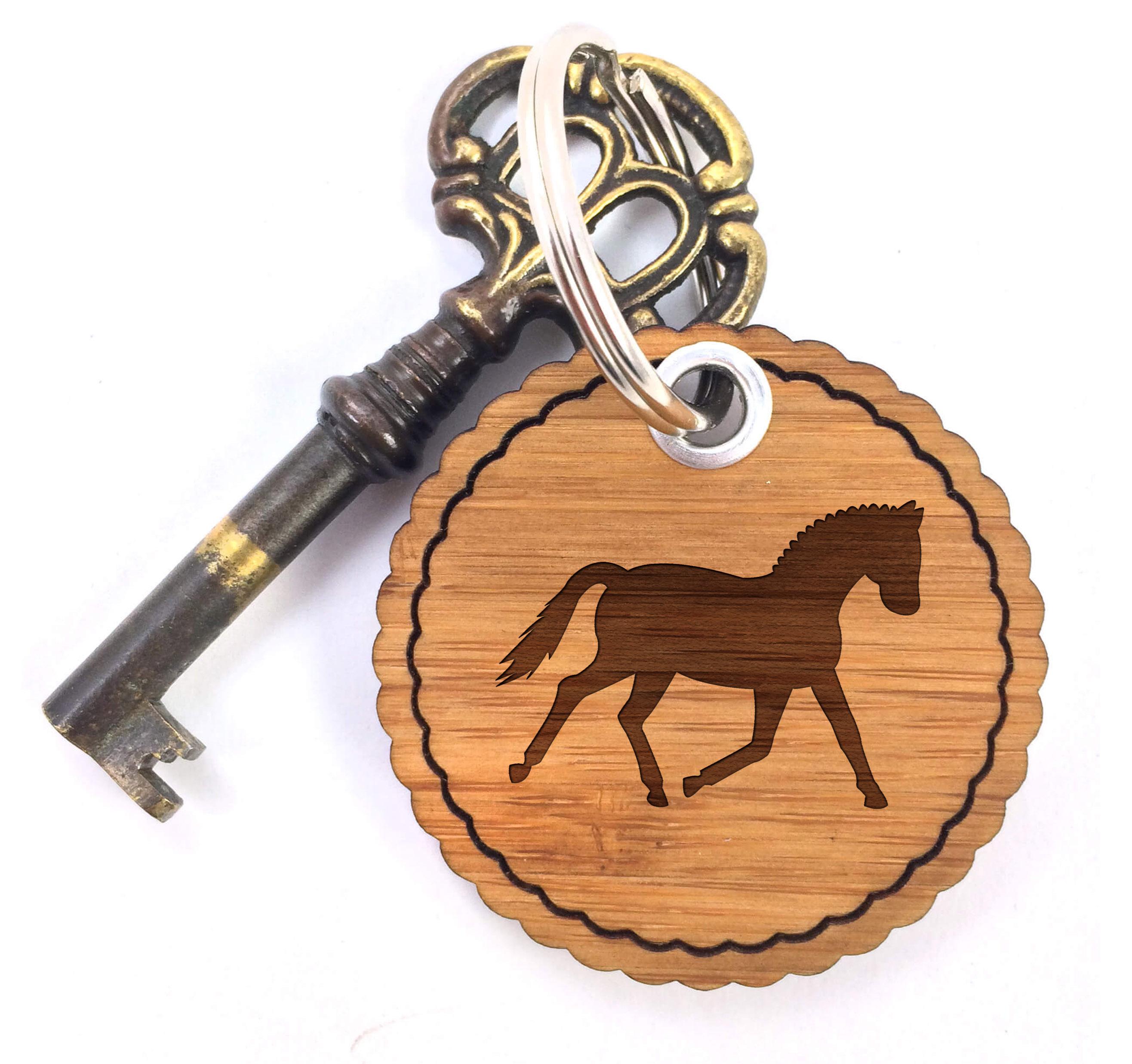 Rundwelle Schlüsselanhänger Dressurpferd aus Ba...
