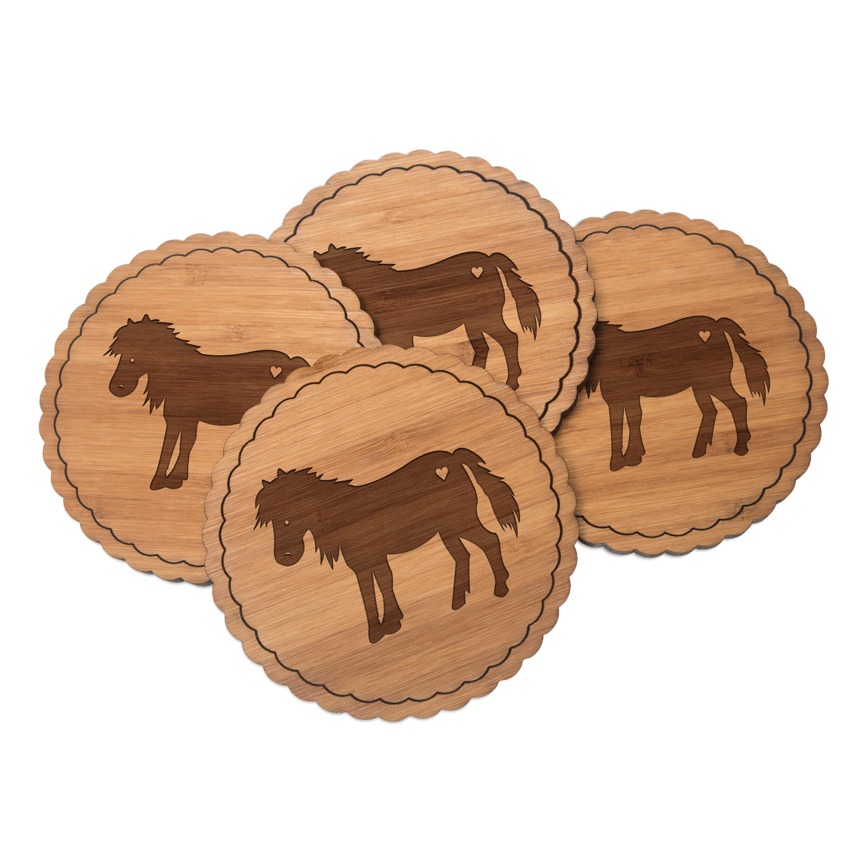 4er Set Untersetzer Rundwelle Pony aus Bambus