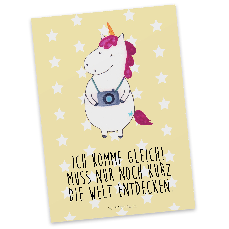 Postkarte Einhorn Fotograf aus Karton 300 Gramm