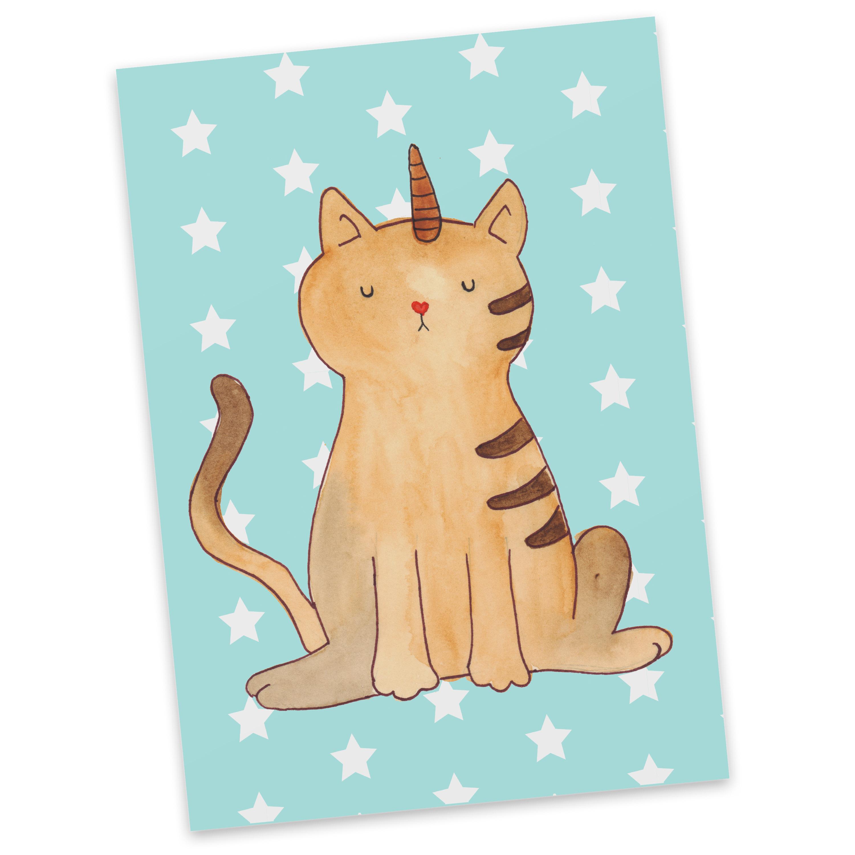 Postkarte Einhorn Katze aus Karton 300 Gramm