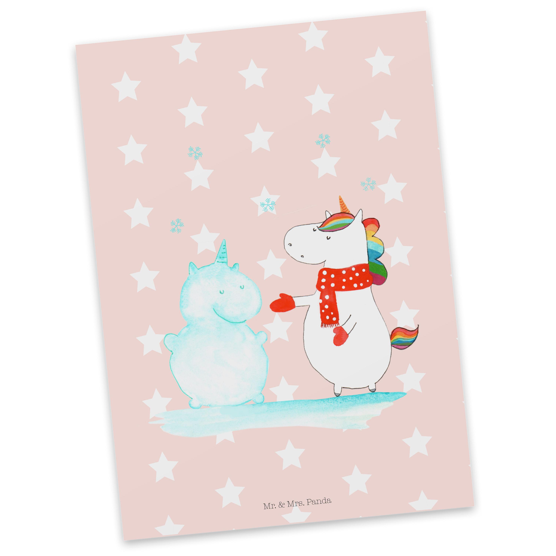 Postkarte Einhorn Schneemann aus Karton 300 Gramm