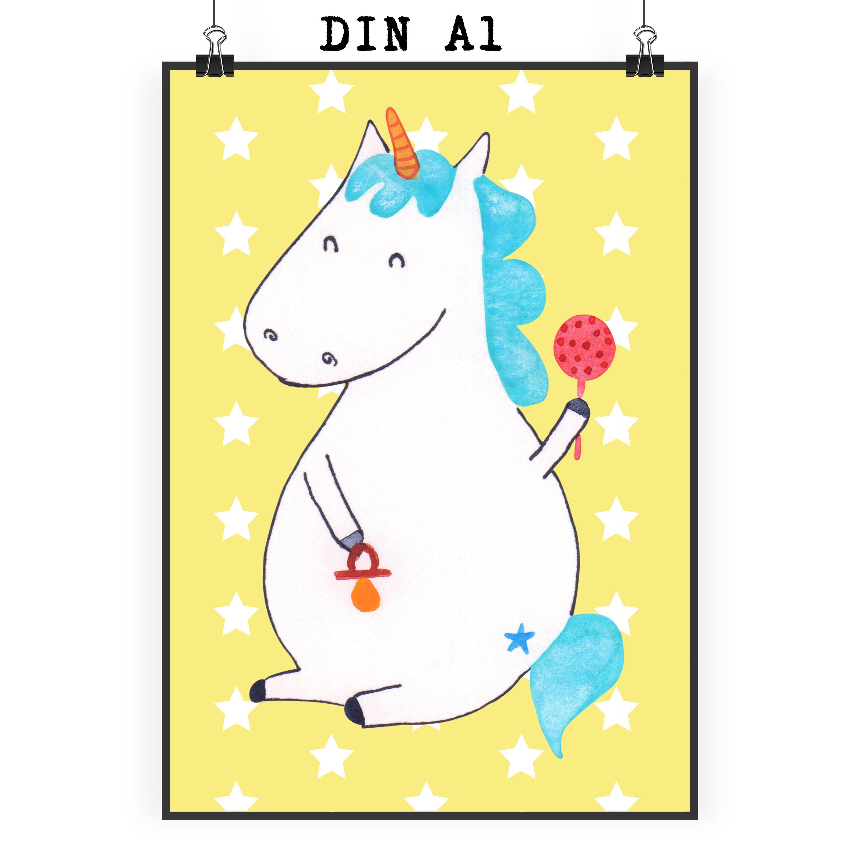 Poster DIN A1 Einhorn Baby aus Papier 160 Gramm