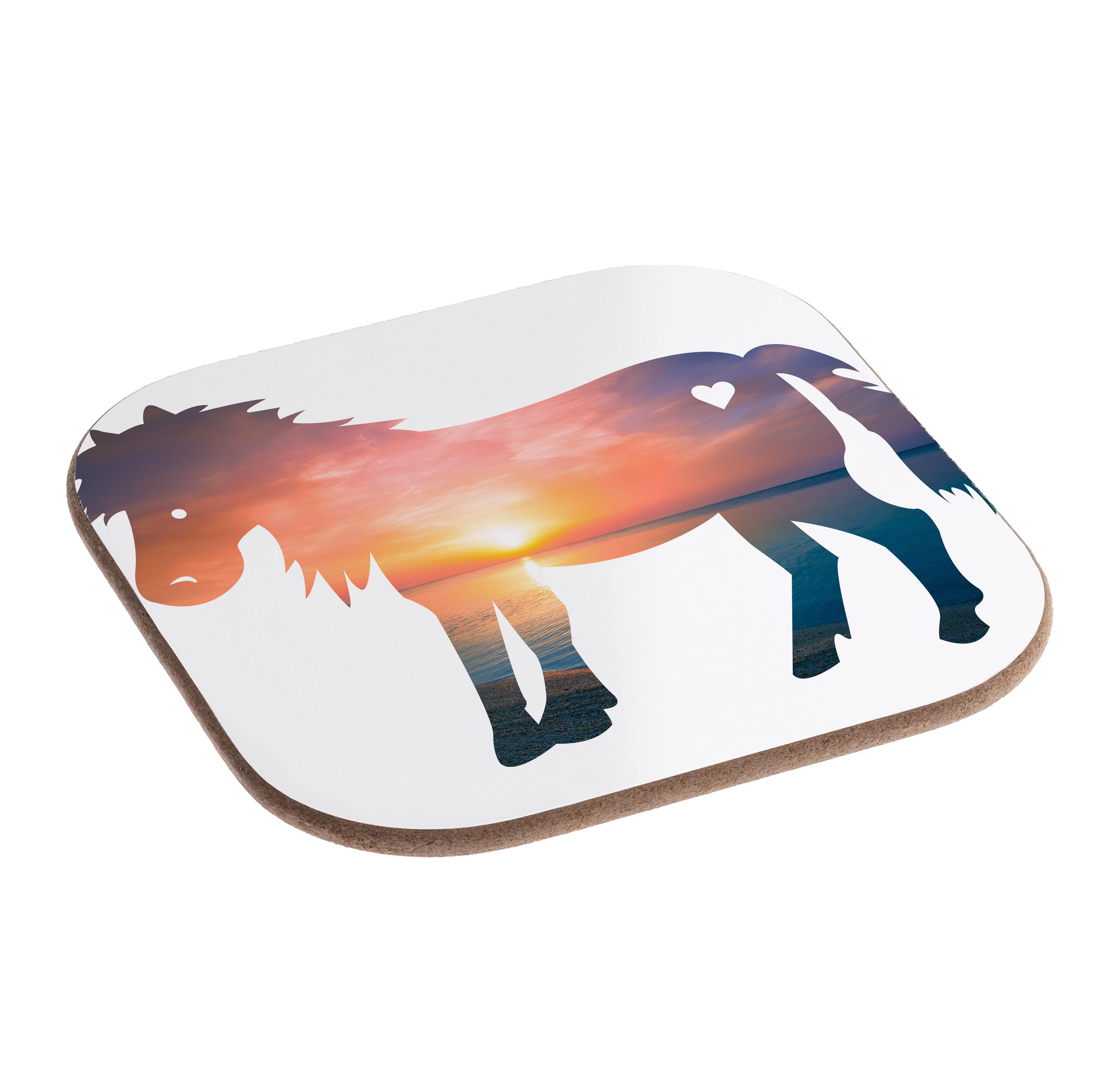 Quadratische Untersetzer Pony aus Hartfaser