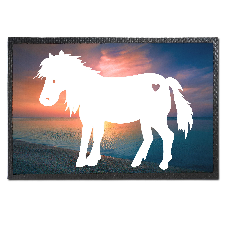 Fußmatte Druck Pony aus Velour