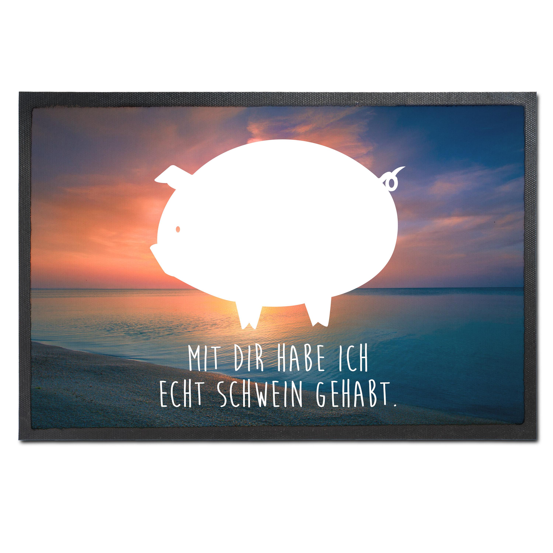 Fußmatte Druck Schwein aus Velour