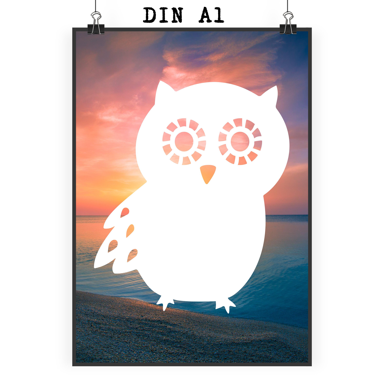 Poster DIN A1 Eule Seitenflügel aus Papier 160 ...