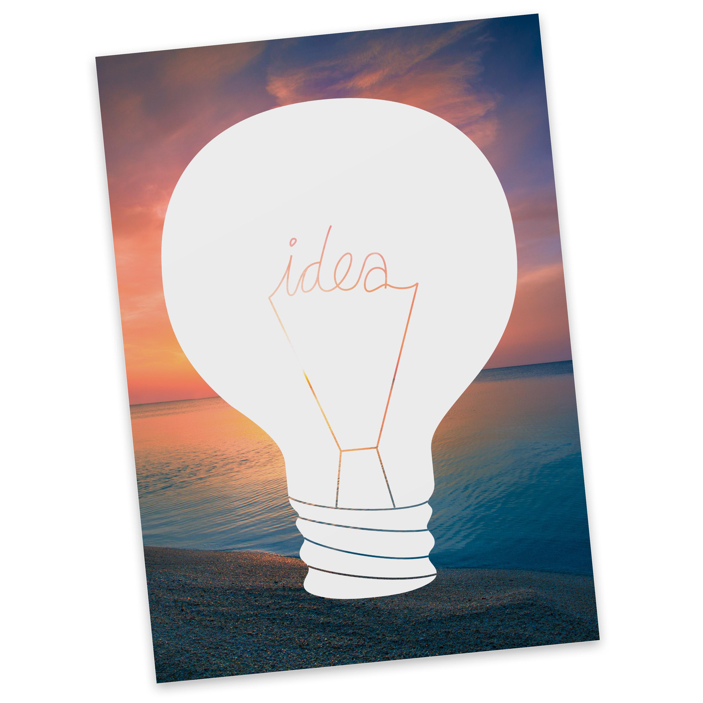 Postkarte Glühbirne aus Karton 300 Gramm