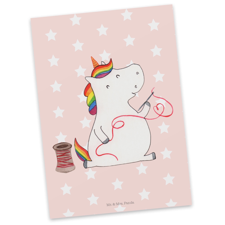 Postkarte Einhorn Näherin aus Karton 300 Gramm