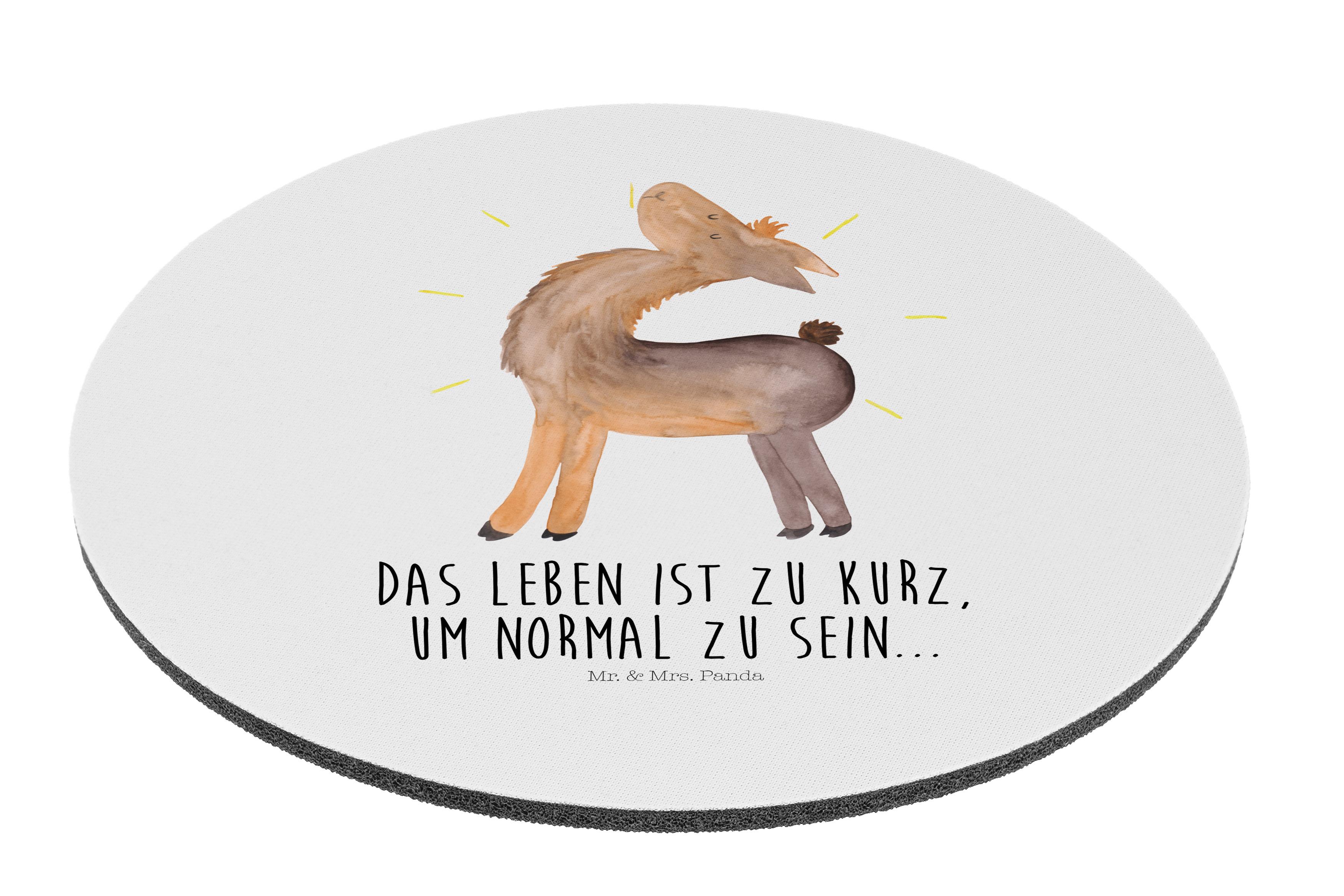 Mauspad rund Lama stolz aus Naturkautschuk