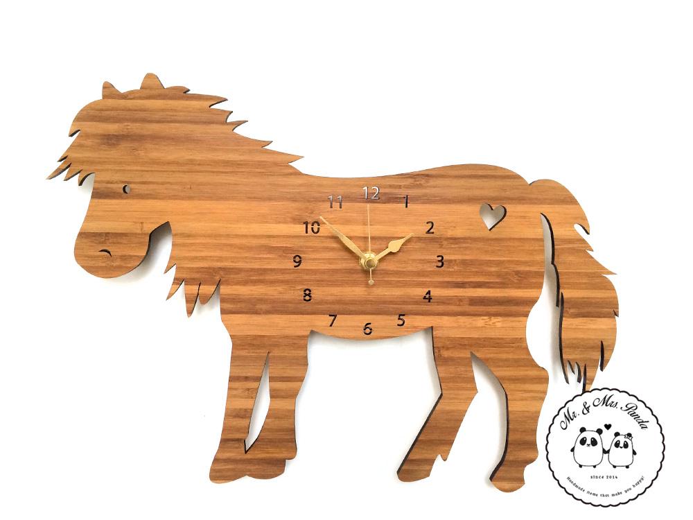 Wanduhr Pony aus Bambus